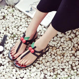 Black Boho Style Artificial Pearl Heel T-Shape Sandals Shoes