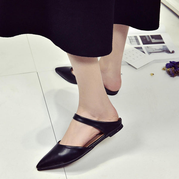 Black Casual Point Toe Low Heel Sandals Shoes