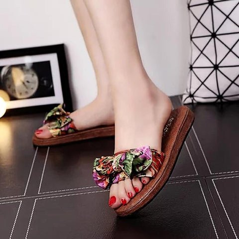 Casual Floral Bow Satin Flat Slide Sandals