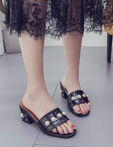 Faux Pearl Embellished Mid Heel Slide Sandals