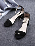 Black Faux Suede Ankle Strap High Heel Sandals