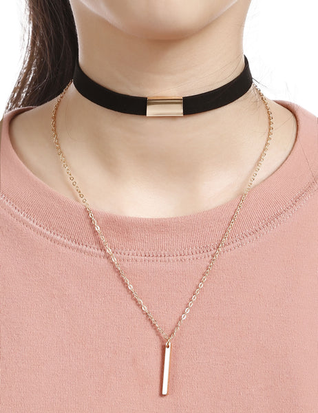 Double Layers Metal Trim Choker Necklace