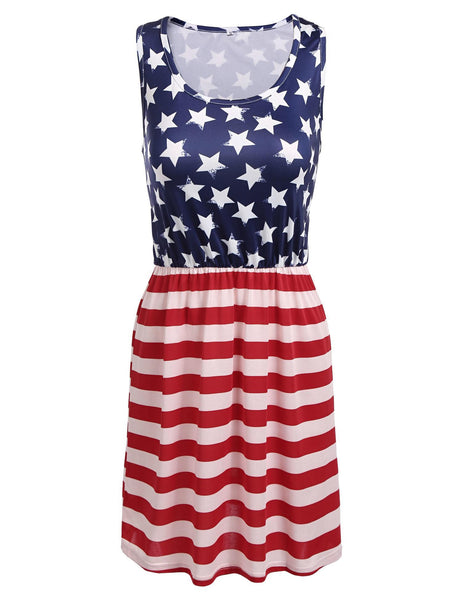 2017 New American Flag Scoop Neck Stars And Stripes Print Dress