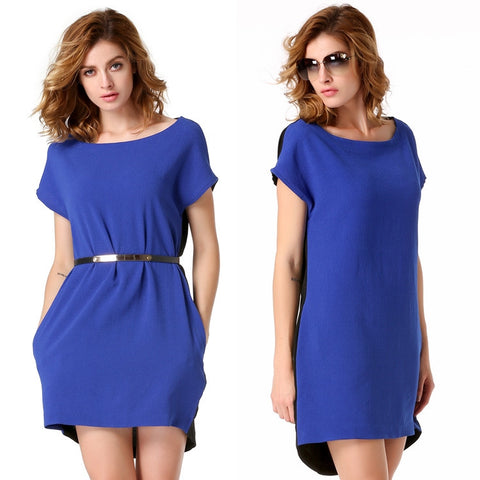 Blue Stylish Lady Sexy Women's Casual New Fashion Short Sleeve O-neck Party Solid Mini Work Dresses