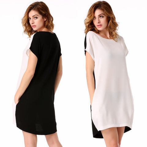 White Stylish Lady Sexy Women's Casual New Fashion Short Sleeve O-neck Party Solid Mini Work Dresses