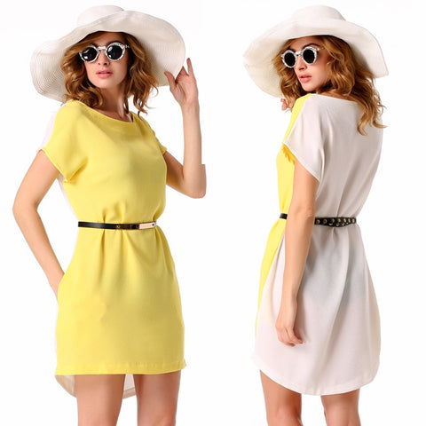 Yellow Stylish Lady Sexy Women's Casual New Fashion Short Sleeve O-neck Party Solid Mini Work Dresses