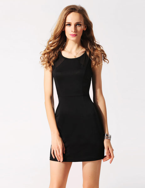 Black Sleeveless Mesh Clubwear Cocktail Party Dress