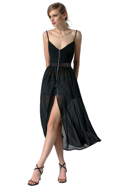 Black Fashion Sexy Women Gauze Patchwork Spaghetti Strap Chiffon Split Long Going Out Dresses