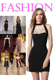 Black Stylish Ladies Women Sexy Halter Backless Strapless Party Dresses