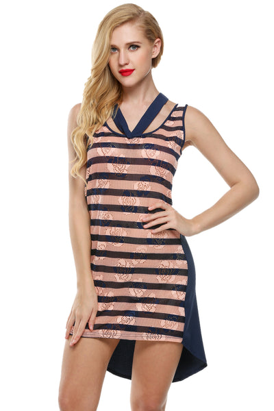 Blue Women Sleeveless Striped Patchwork Tank Casual Dresses