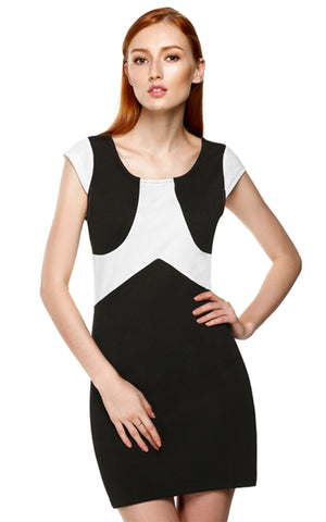 Black Women Fashion and White Round Neck Cap Sleeve Summer Casual Work Dresses