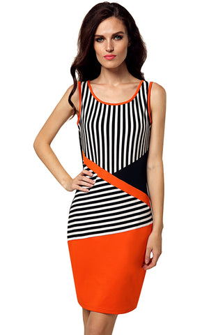 Black&White New Stylish Ladies Women Sleeveless Round Neck Black and White Striped Casual Work Dresses