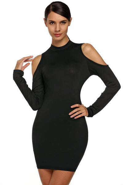 Black Off Shoulder Long Sleeve Bodycon Going Out Dress