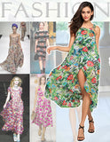 Green Loose Halter Sleeveless Irregular Hem Floral Print Maxi Casual Dress