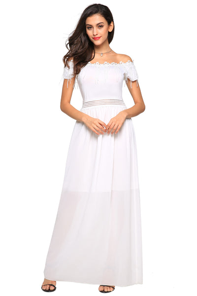 White Women Fashion Sexy Strapless Off the Shoulder Short Sleeve Lace Fringe Patchwork Solid Maxi Long Evening Wedding & Bridesmaid Dresses