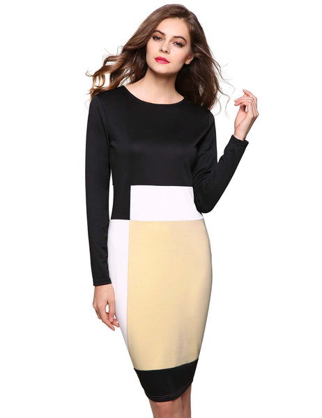 Women Fashion Long Sleeve Geometric Contrast Color Stretch Party Pencil Work Dresses