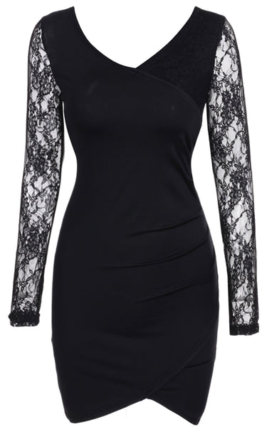 Black Long Sleeve V Neck Sexy Lace Patchwork Going Out Dress