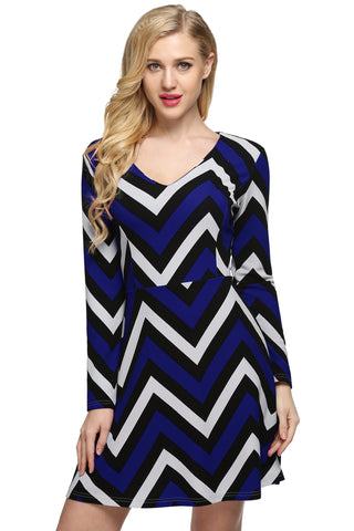 Blue Women Casual V-Neck Long Sleeve Wave Print Swing Mini Work Dresses