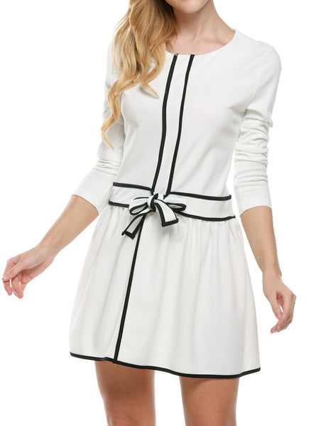 Women O-Neck Long Sleeve Solid Slim Mini Casual Dresses
