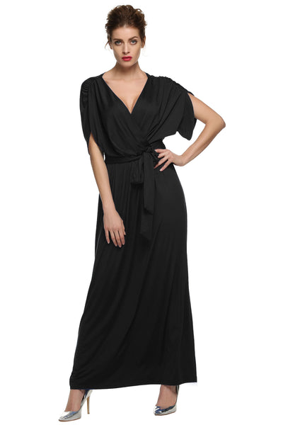 Women Lady Batwing Sleeve Deep Neck Solid Maxi Long Full Gown with Belt Casual Dresses