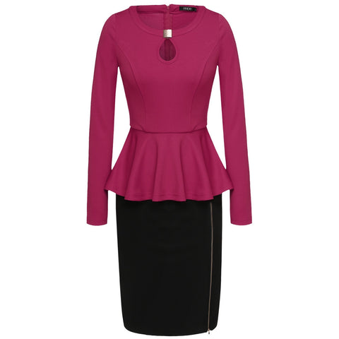 Rose red Finejo Women Casual O-Neck Long Sleeve Peplum Design Package Hip Sexy Bodycon Work Dresses