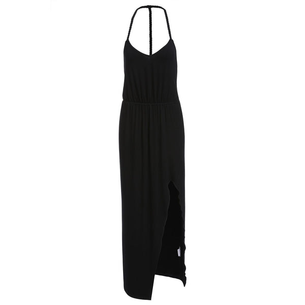 Black Women Strap Deep V Neck Summer Backless Slit Party Long Maxi Casual Dresses