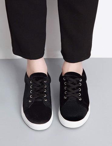Stylish Flock Round Toe Casual Solid Shoes for Women
