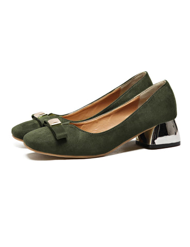 Casual Square Toe Low Heel Front Bow Accent Shoes