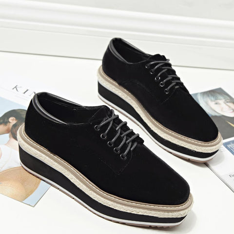 Casual Flock Lace Up Round Toe Flatform Sneaker