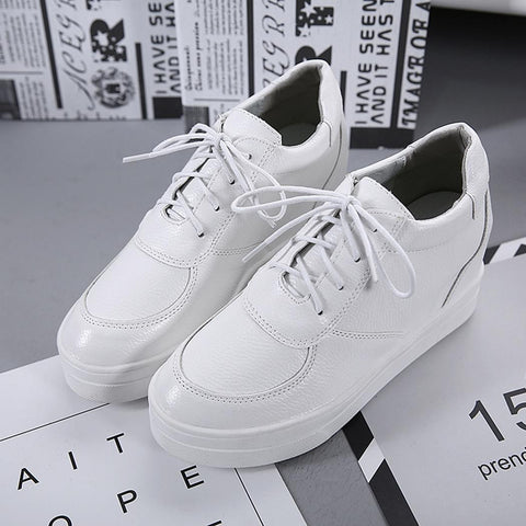 Casual Lace Up Round Toe Synthetic Leather Wedge Sneakers