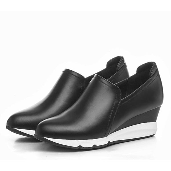 Genuine Leather Solid Color Point Toe Wedge Heel Casual Shoes
