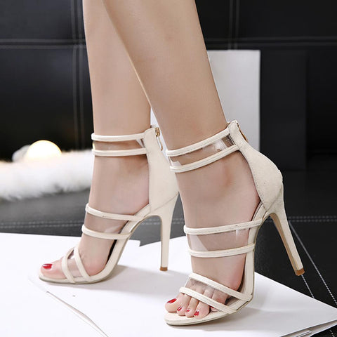 Pink Ankle Strap Back Zipper High Heel Sandals