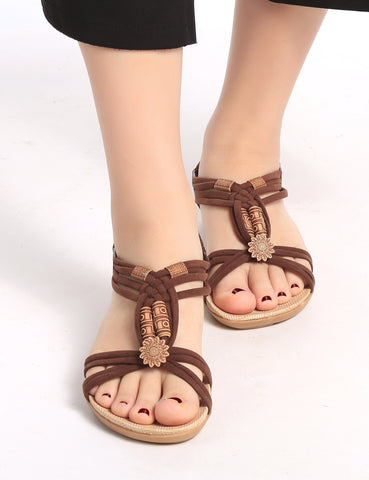 Brown Retro Beading Elastic Back Flat Sandals