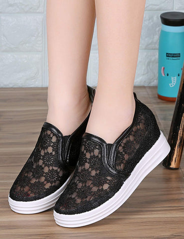 Round Toe Mesh Hollow Thick-soled Slip-on Sneakers