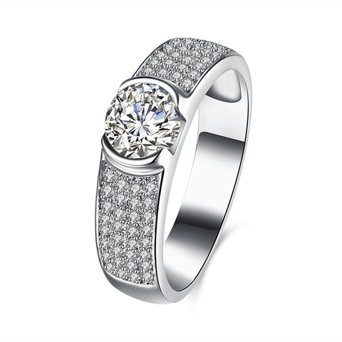 YUEYIN 925 Sterling Silver Wedding Ring Zirconia Solitaire Gemstone Micro Inlay Anniversary Gift