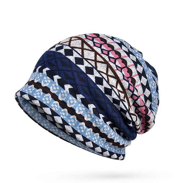 Women Plaid Printing Warm Beanies Hat Scarf Outdoor Thicker Windproof High Stretch Bonnet Hat