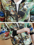 Vintage Printed Long Sleeves Pocket Jacket For Women