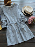 Casual Cute Lace Patchwork Button Fly Women Plaid Dresses