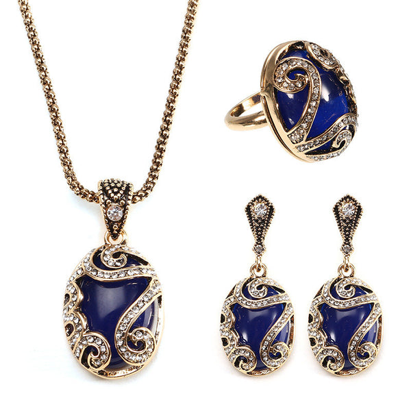 JASSY® Ethnic Natural Blue Stone Jewelry Set Vintage Antique Gold Ring Earrings Necklace for Women