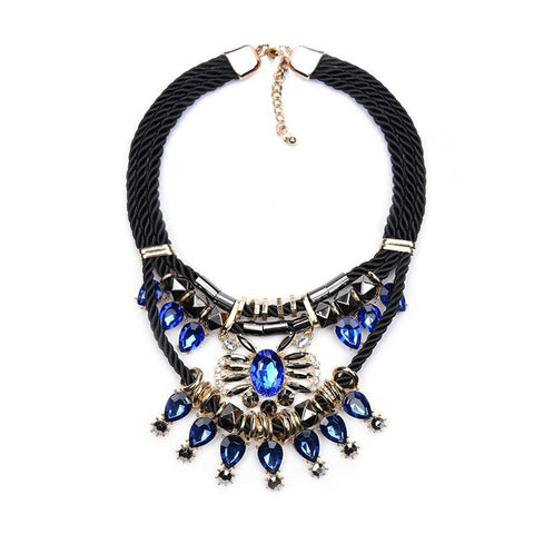 Bohemian Women's Blue White Rhinestones Flower Drop Resin Chunky Necklace Gift