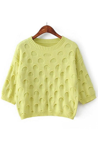 Apple Green Plain Seven's Sleeve Pullover
