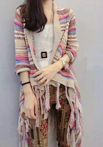 Apricot Color Block Print Fashion Cardigan Sweater