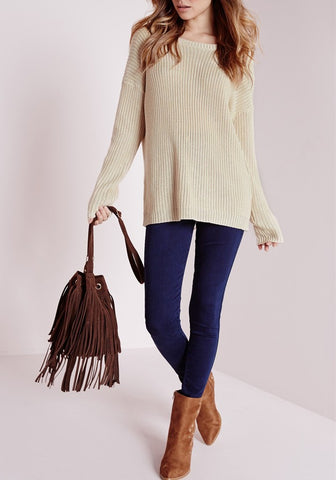 Apricot Drawstring Backless Round Neck Long Sleeve Pullover Sweater
