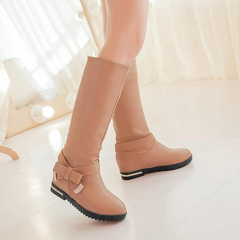 New Women Apricot Flat Within The Higher Bow Casual Mid-Calf Boots