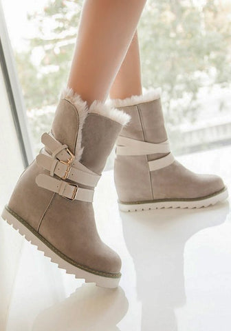 New Women Apricot Flat Within The Higher Buckle Fashion Mid-Calf Boots