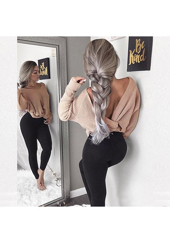 Apricot Irregular V-neck Backless Pullover Sweater