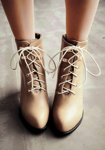 New Women Apricot Point Toe Chunky Lace-up Casual Ankle Boots