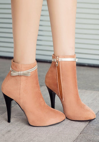 New Women Apricot Point Toe Stiletto Bow Fashion Ankle Boots