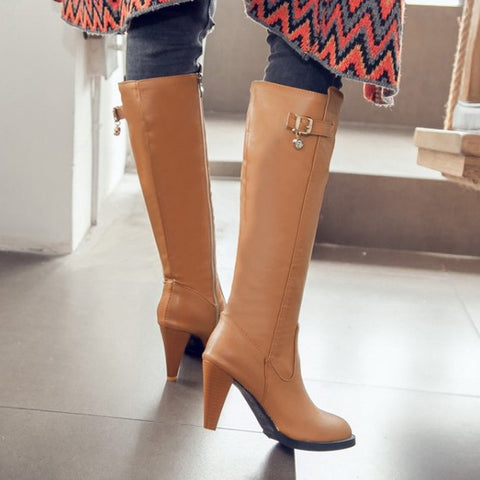 New Women Apricot Point Toe Stiletto Buckle Casual Knee-High Boots