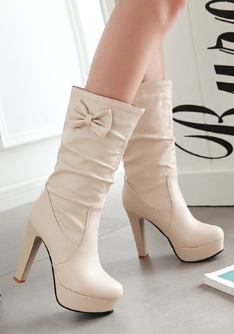 New Women Apricot Round Toe Chunky Bow Sweet Mid-Calf Boots